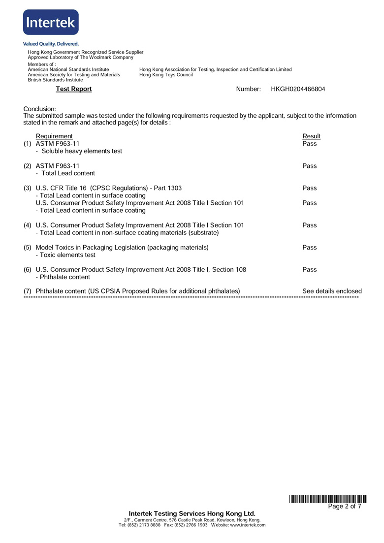 intertek Inspection certificate