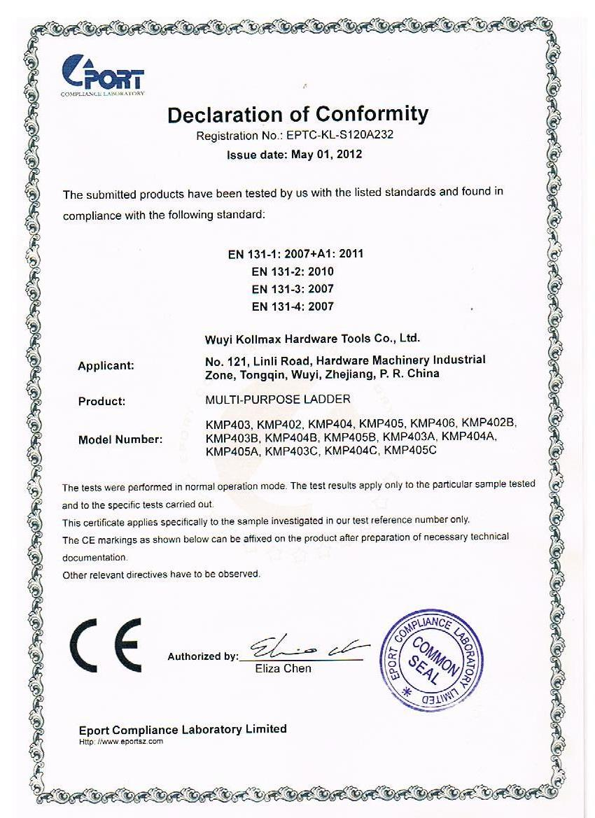 CE Certificate for multi-purpose ladder