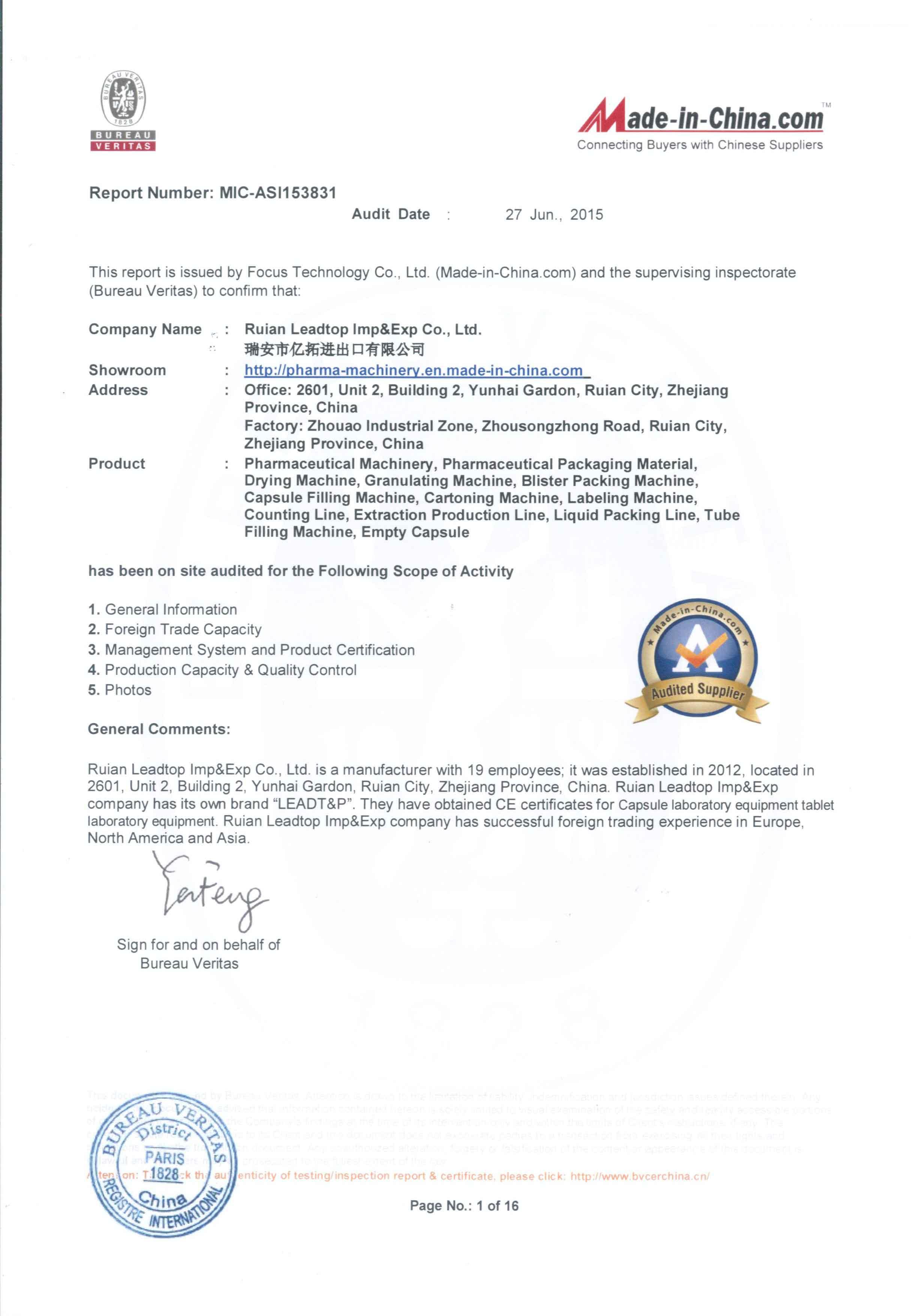 Bureau Veritas Certificate of Ruian Leadtop Imp&Exp Co.,Ltd.