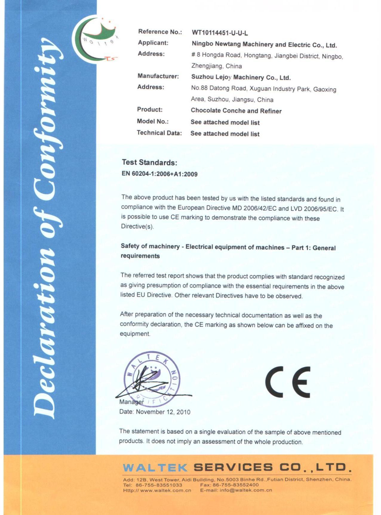 Declaration of Conformity(CE)