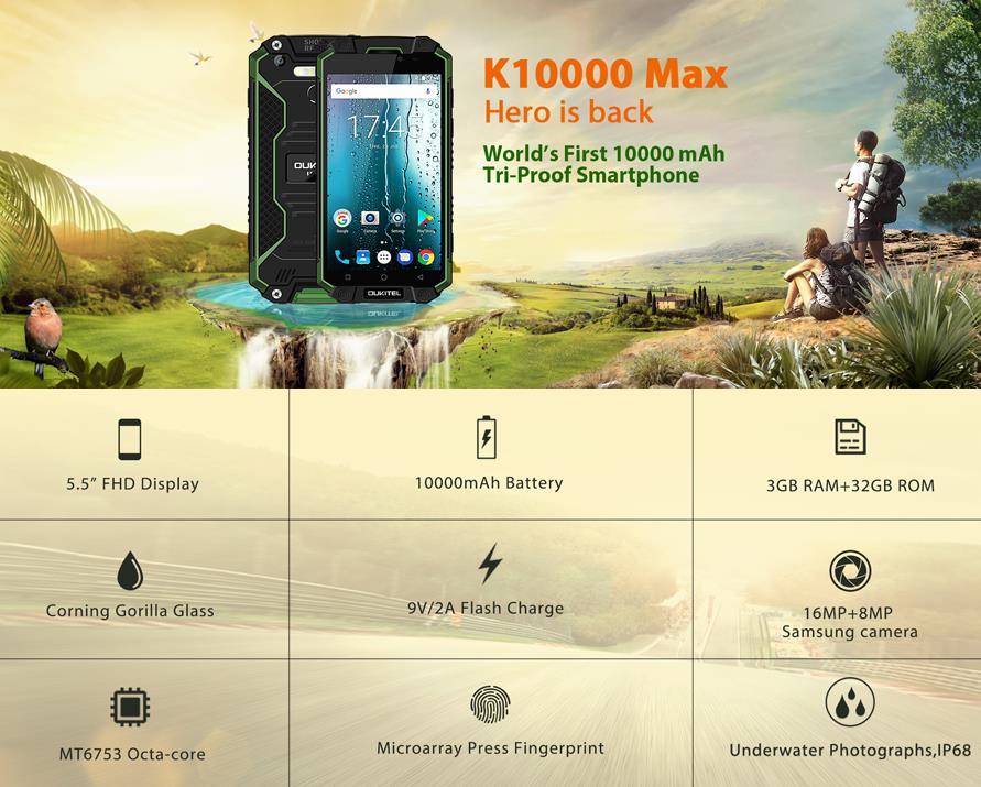 Oukitel K10000 Max IP68 Waterproof Dustproof Shockproof Mobile Phone Android 7.0 MT6753 Octa Core 3G