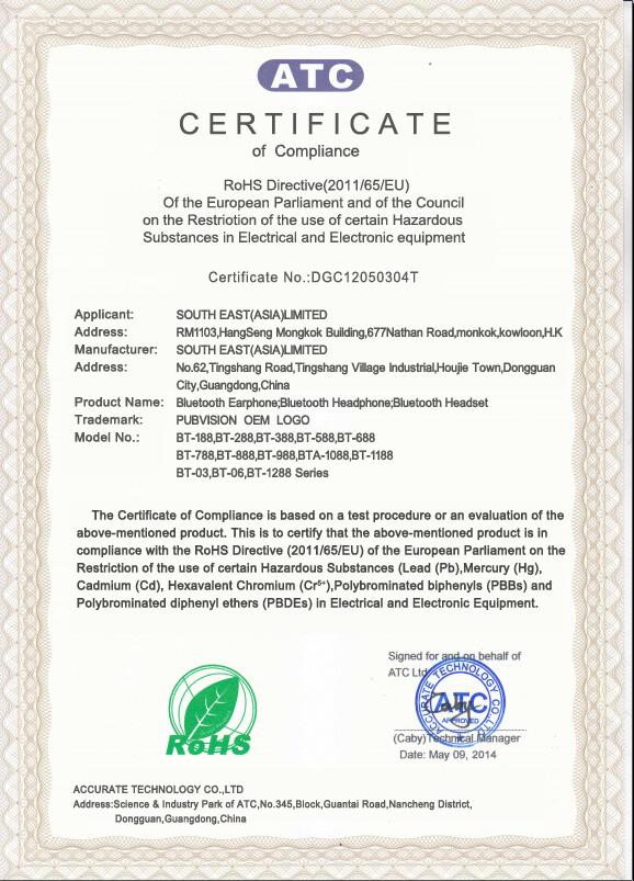Rohs Certificate for Bluetooth Earphones