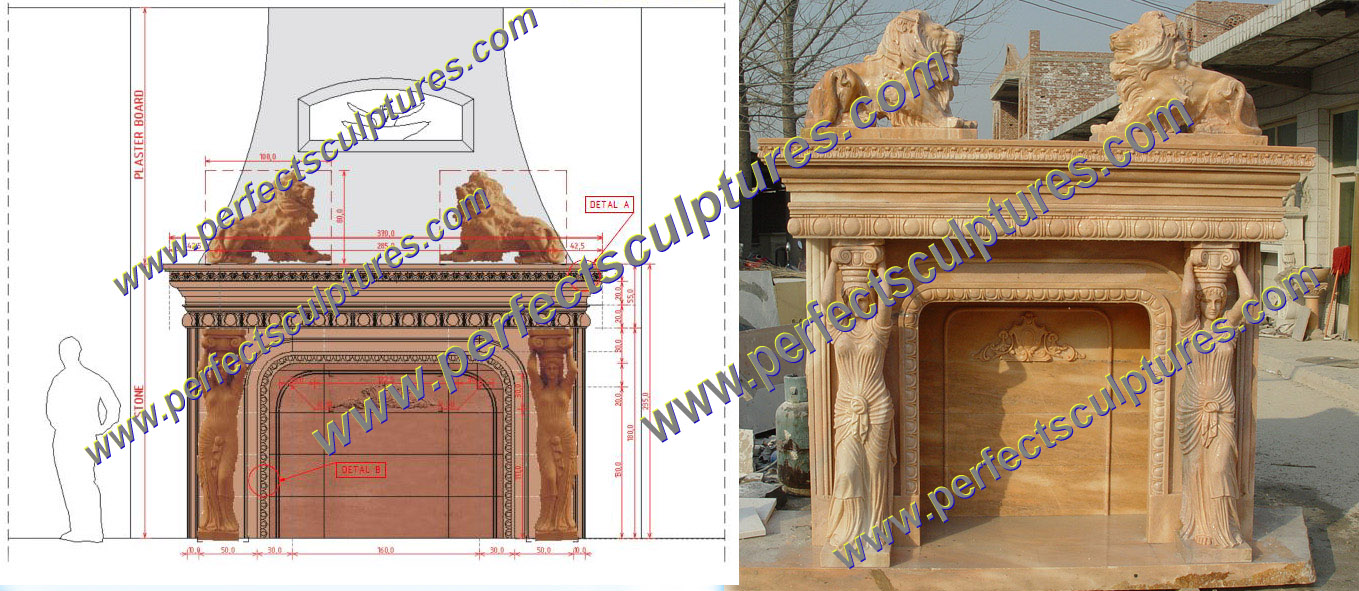 Custom Stone Fireplace Matels in France