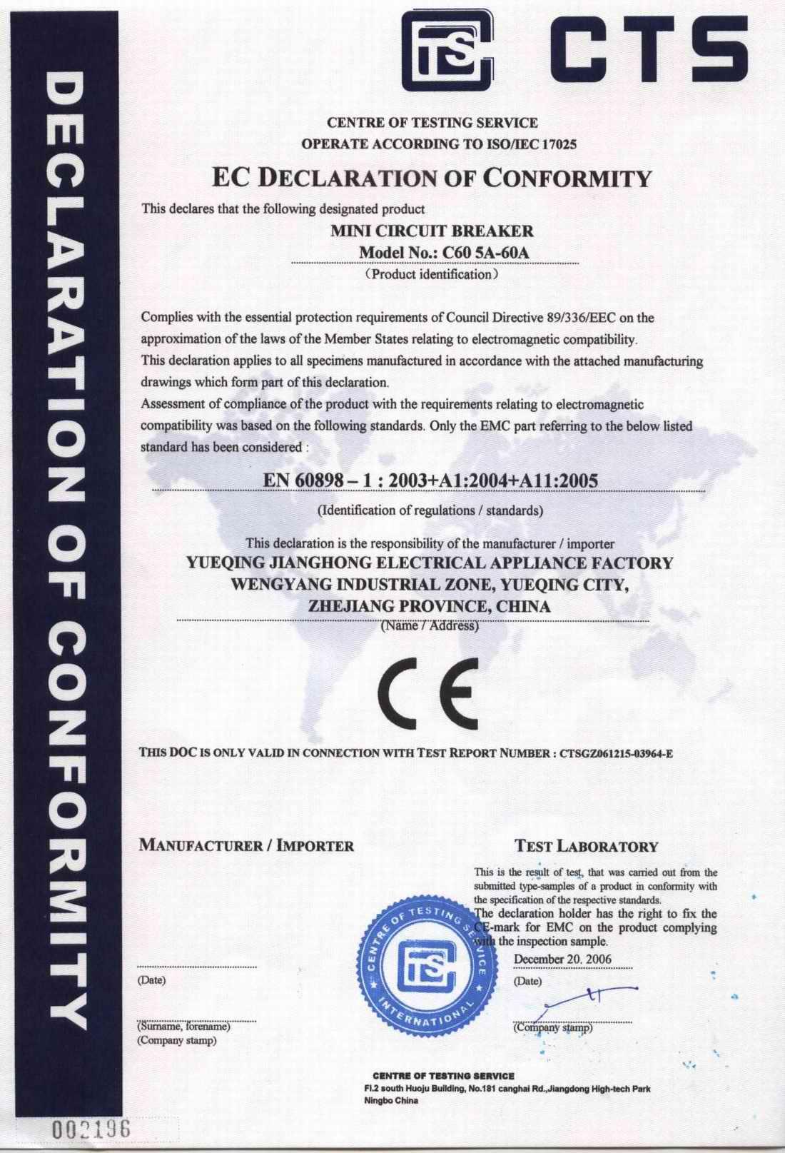 MCB C60 Qualification Certificate