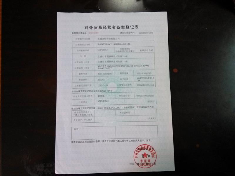 Foreign trade operators Registration Form