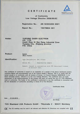 TUV CERTIFICATE of MICRO SWITCH