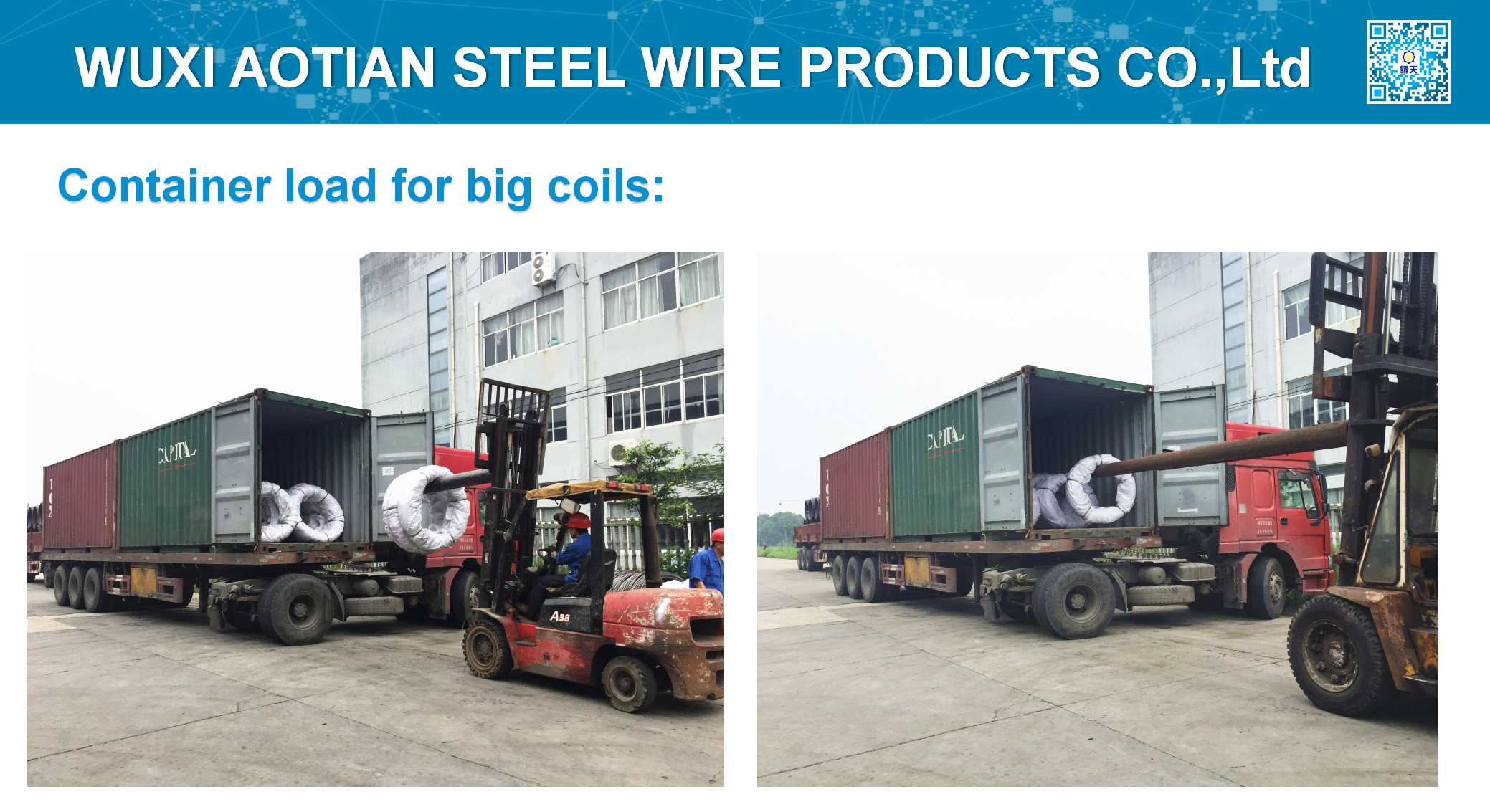 Container load for big coils