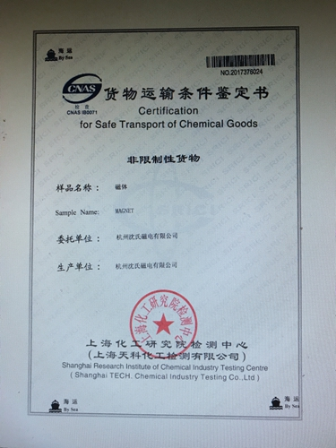 Certification for transport