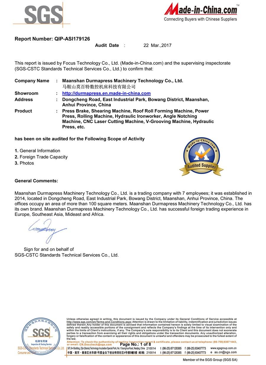 SGS Certificate of Durmapress Brand
