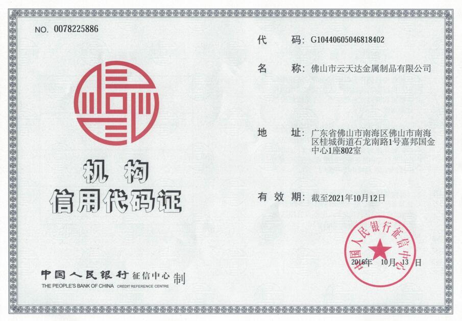 Credit Code Certificate