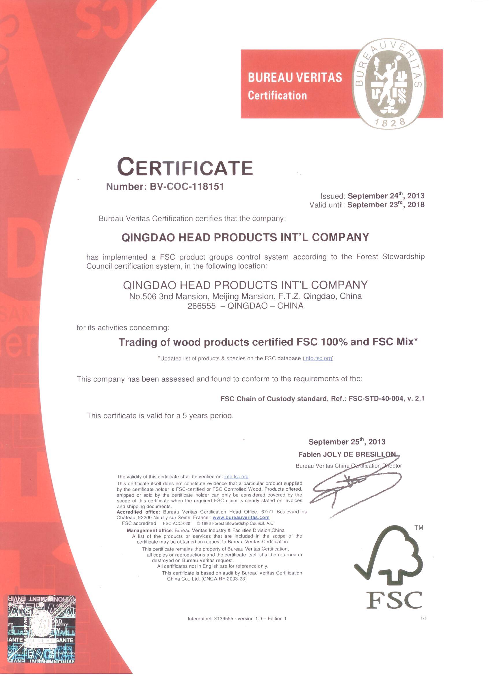 FSC certificat