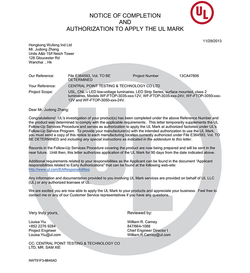 UL Certification of Led Flexible Strip