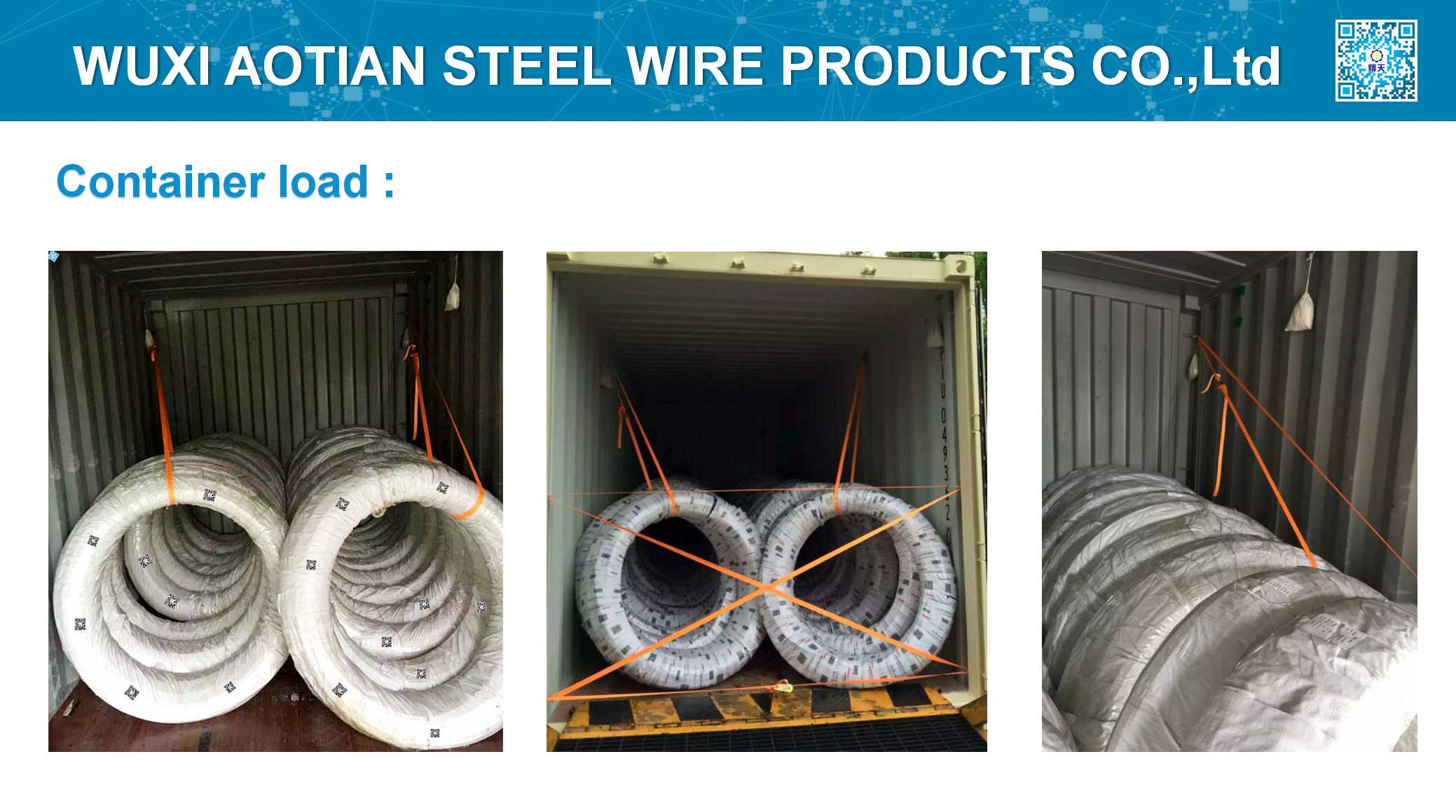 Container load for wire coil