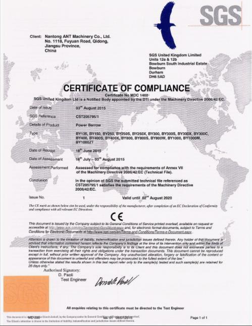 ANT mini dumper SGS CE Certificate