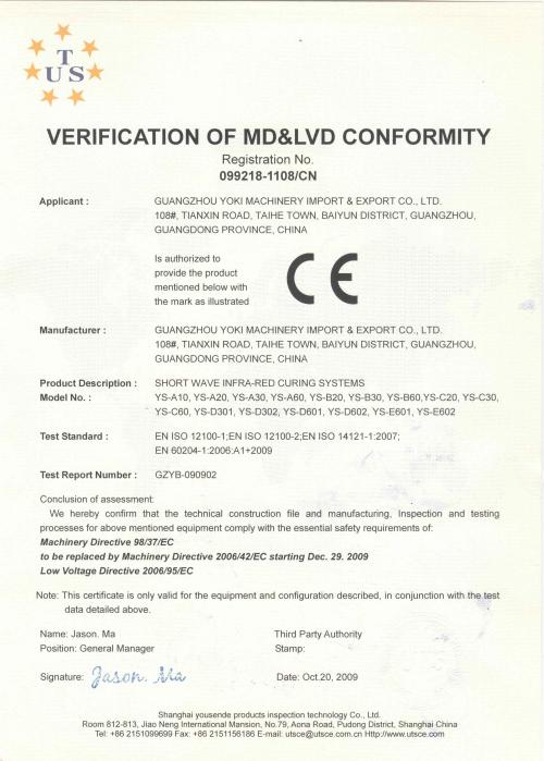 CE certicate of infrared lamp