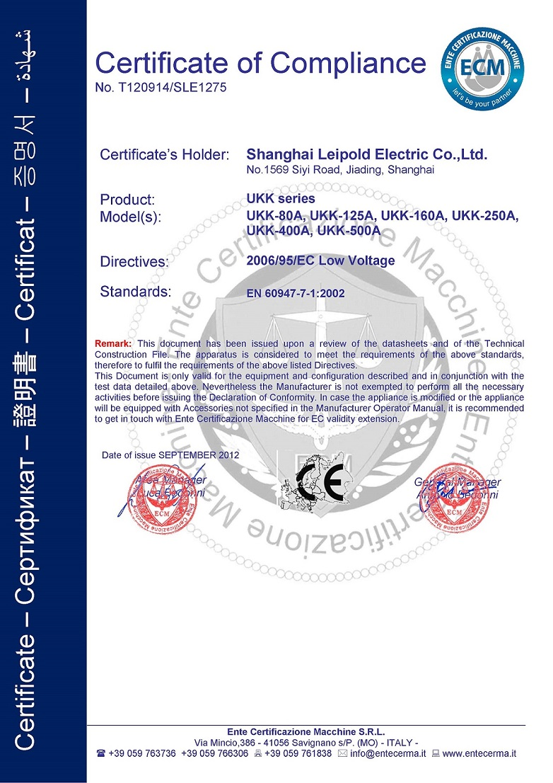 CE Certificate of UKK series