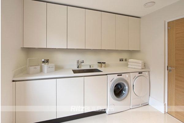 Wash Wardrobe Belt Basin Waterproof Solid Wood Cabinet Laundry with Double Laundry Machine Laundry E