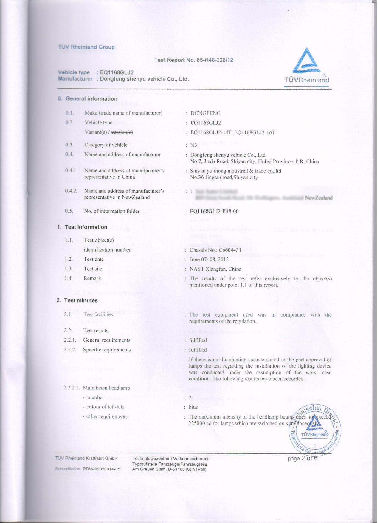 ADR Certificate for Truck Light