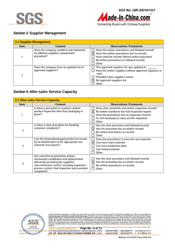 SGS Certification - Supplier Management