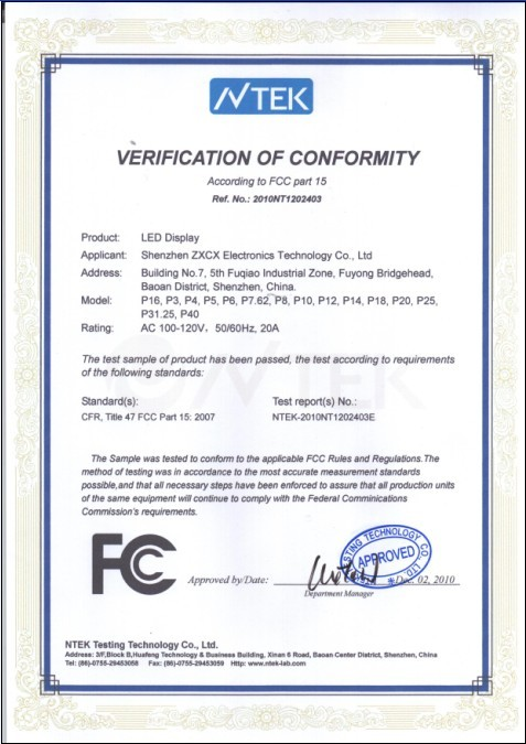 Fc Certification of LED Display