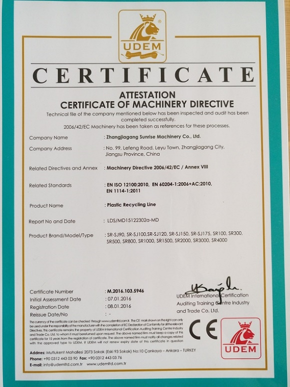 CE Certificate for Plastic Recycling Line