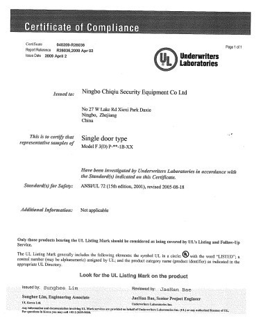 UL 350-1hour Certificates