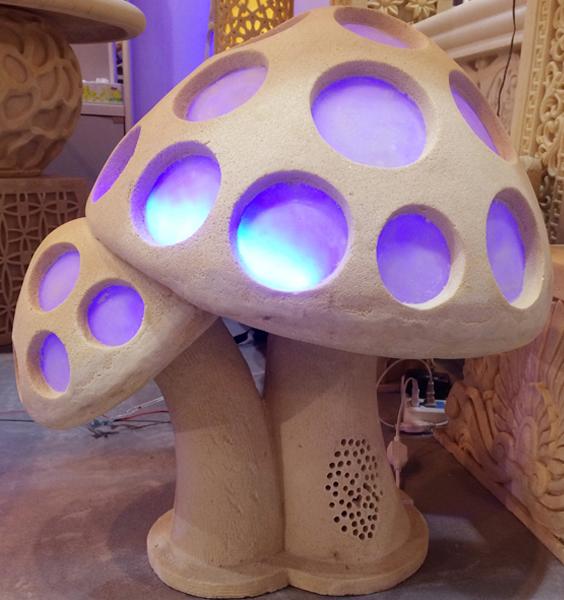 Sandstone Sculpture Mushroom Style LED Light Lantern With Loudspeaker