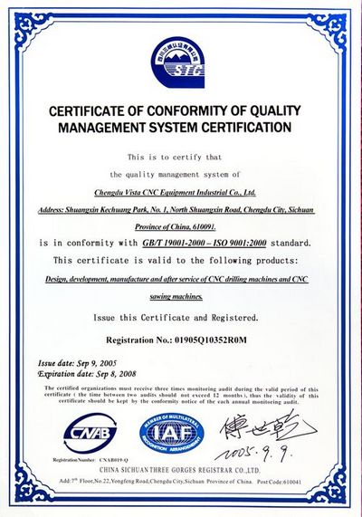 Certificate of Commodity of Quality Management System certification