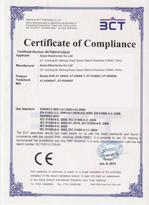 CE certificate of 1080P Mobile DVR