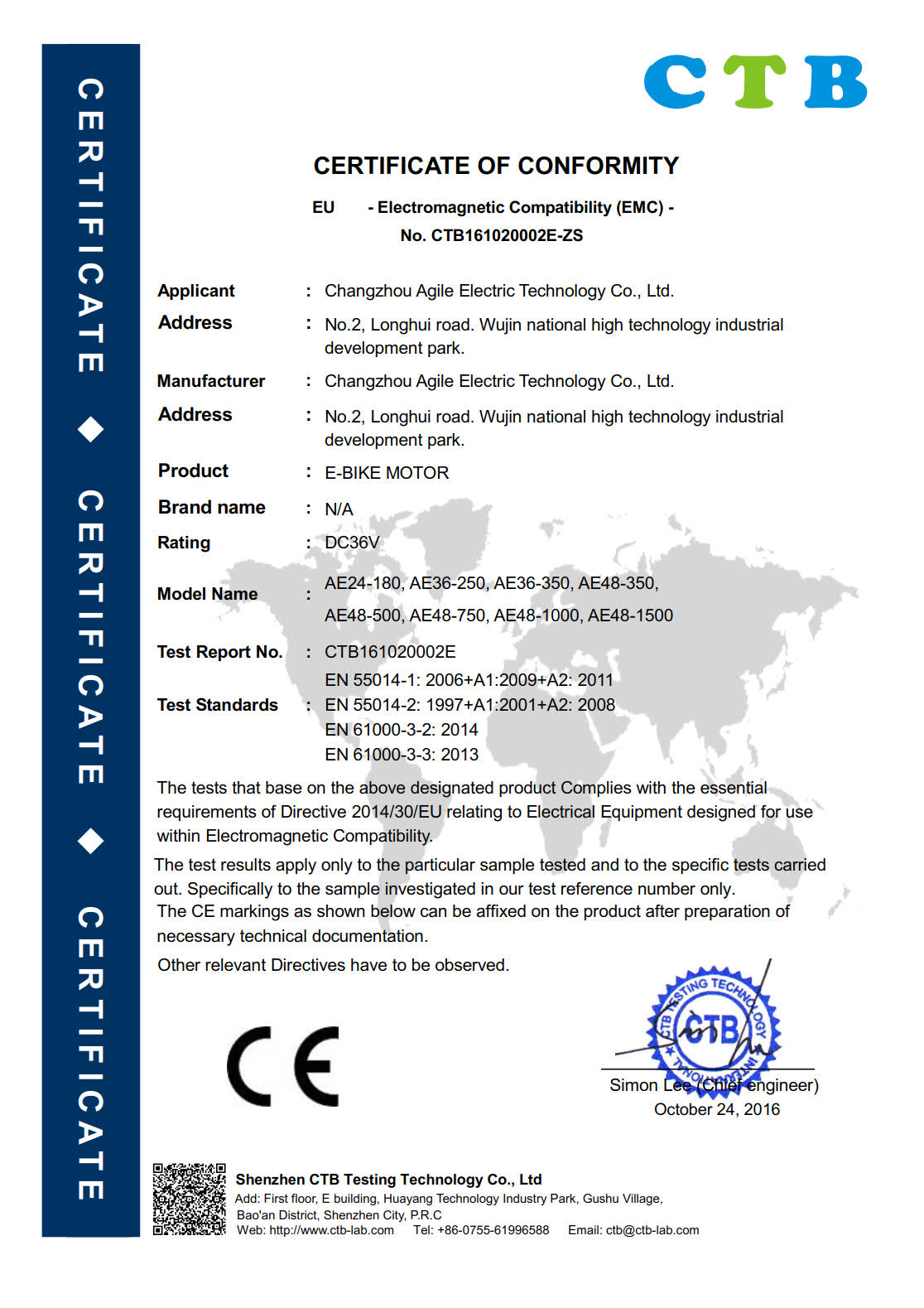 CE Certification for motor