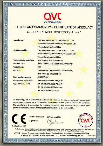 CE certificate of SPE-3000S series.