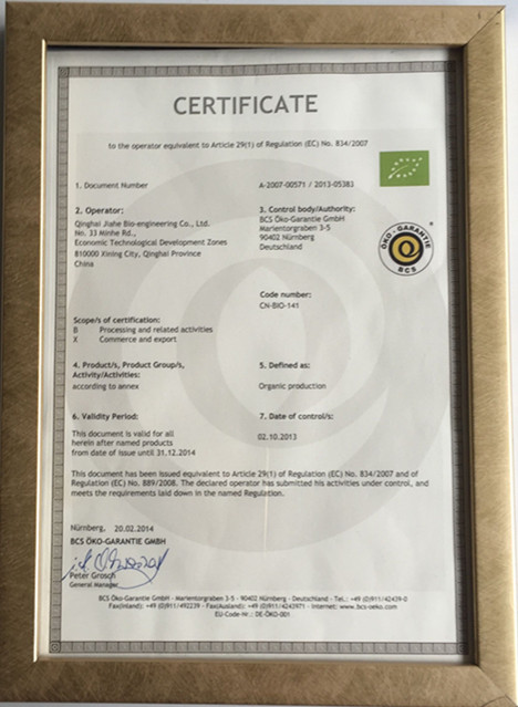 Organic Certificate by BCS
