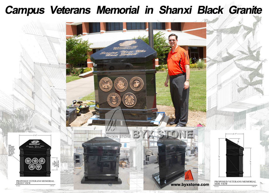 Campus Veterans Memorial in Shanxi Black Granite