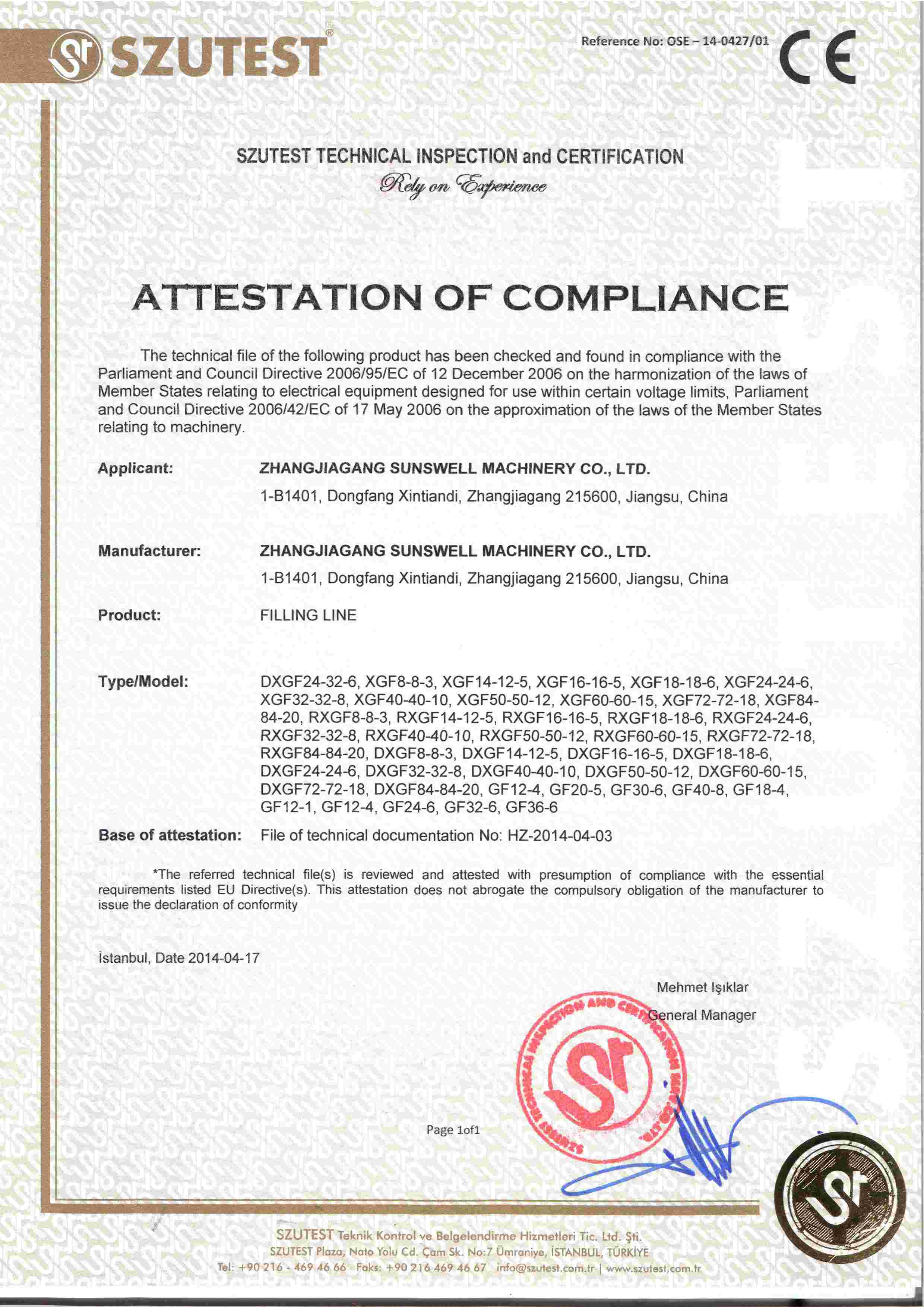 CE-Certificate of Conformity for Filling Line