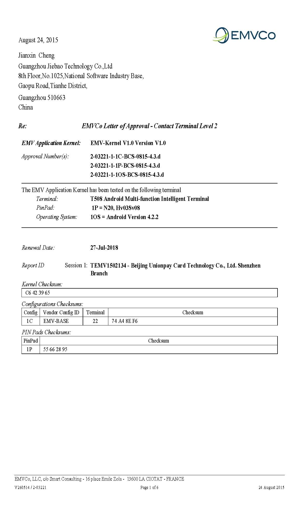 EMV Certificate of T508