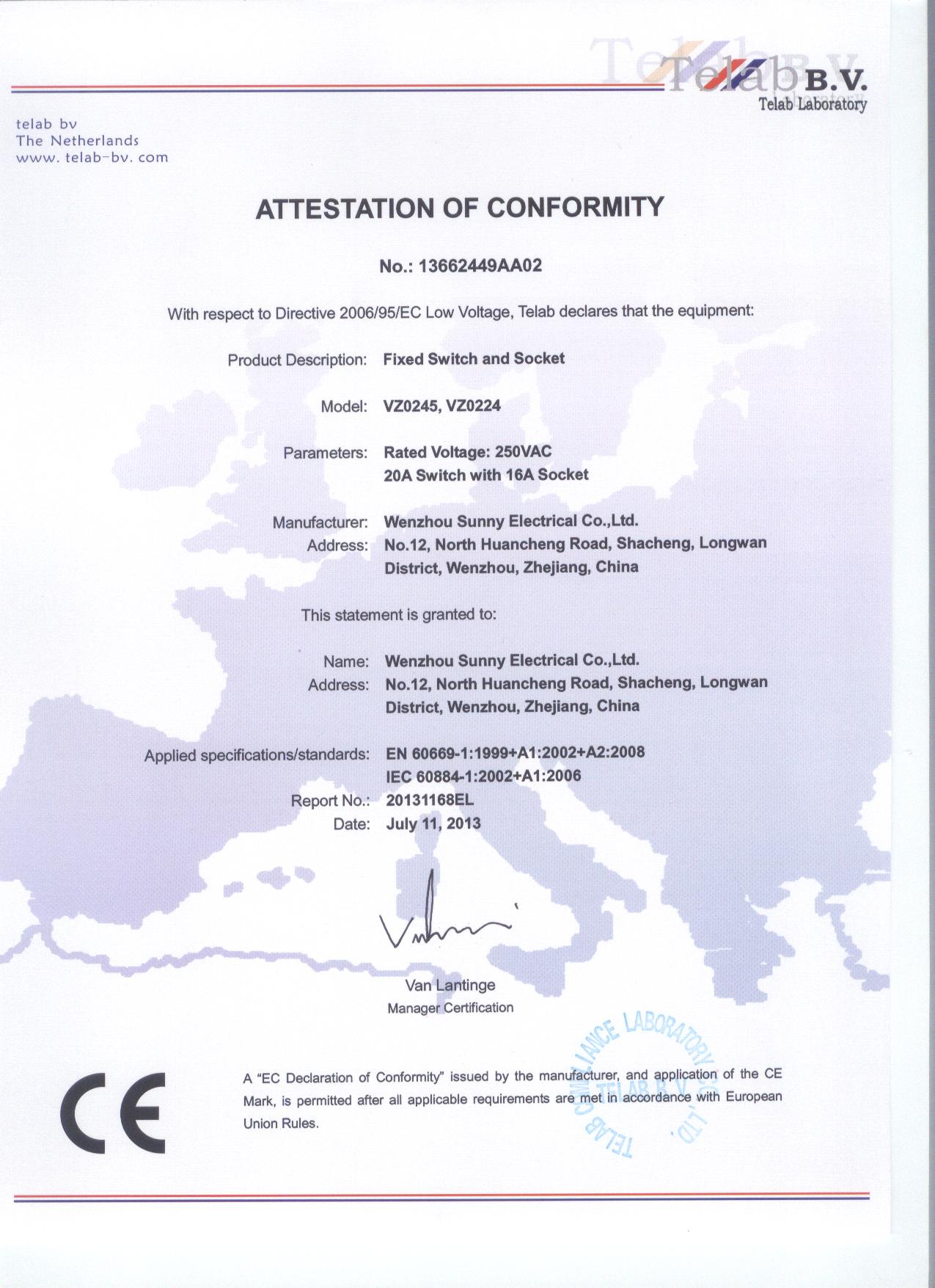 CE certificate of Fixed switch and socket