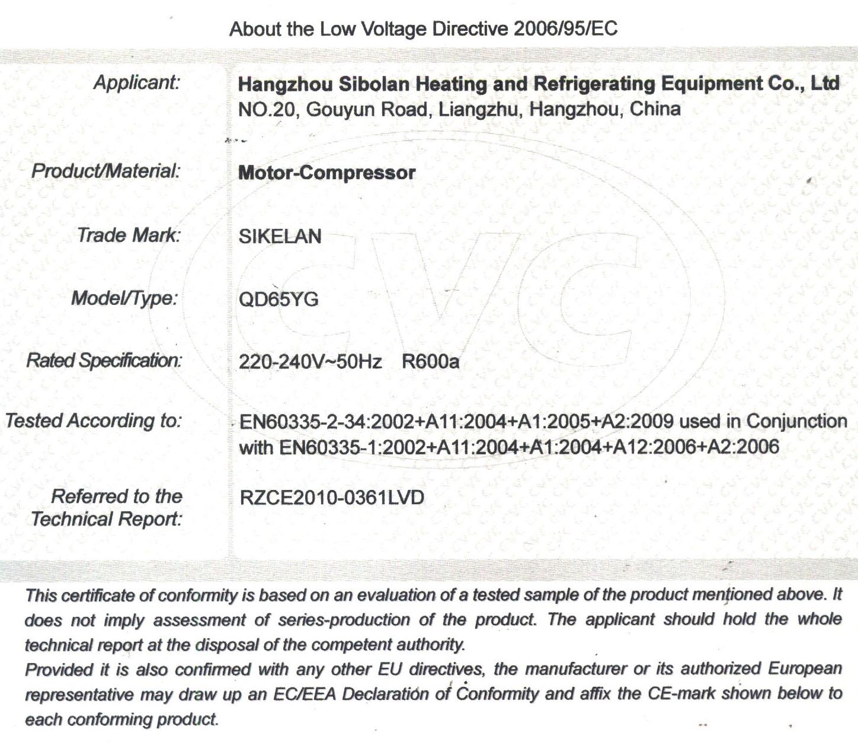 Certification Of Compressor