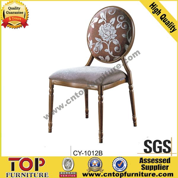 Popular wood look metal hotel restaurant dining chair