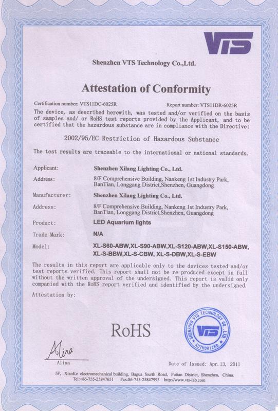 LED Aquarium Light RoHS Certification