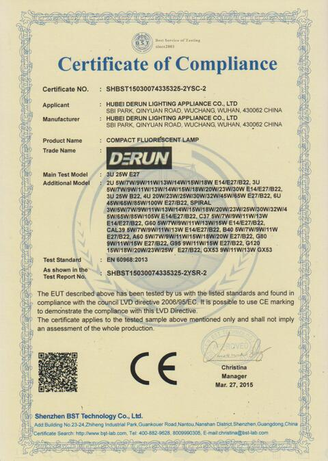 CE certificate for CFL