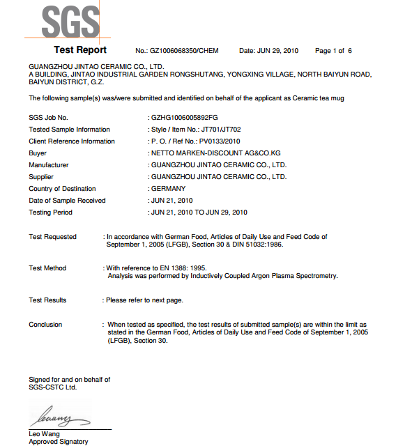 ceramic mug SGS test report