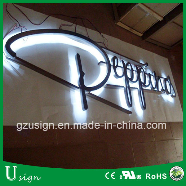 LED backlit stainless steel channel letter