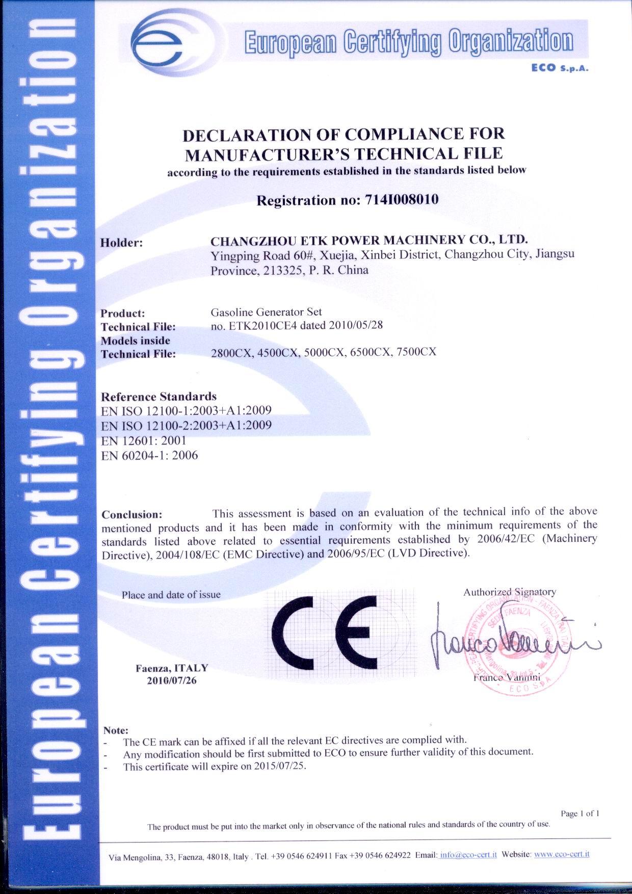 CE-GASOLINE GENERATOR SET