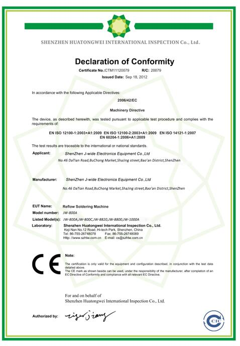 CE certificate for reflow oven