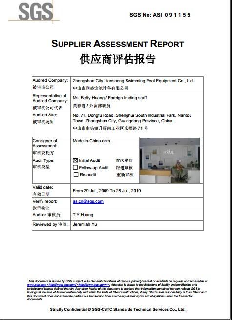 SGS CERTIFICATION 2009-1