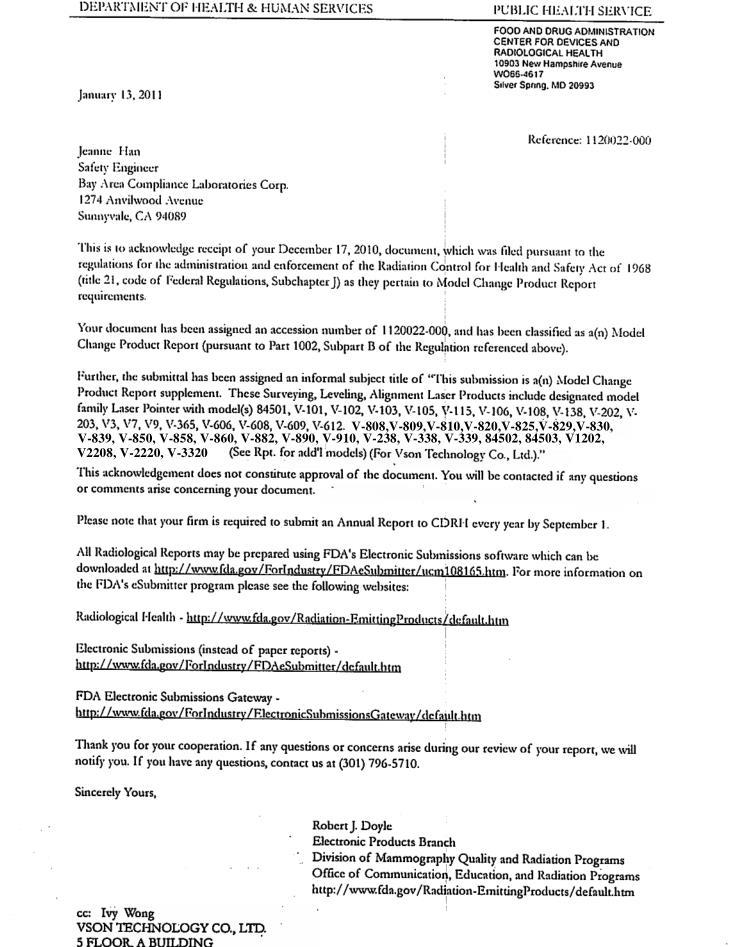 FDA report of Vson Technology Co., Ltd.