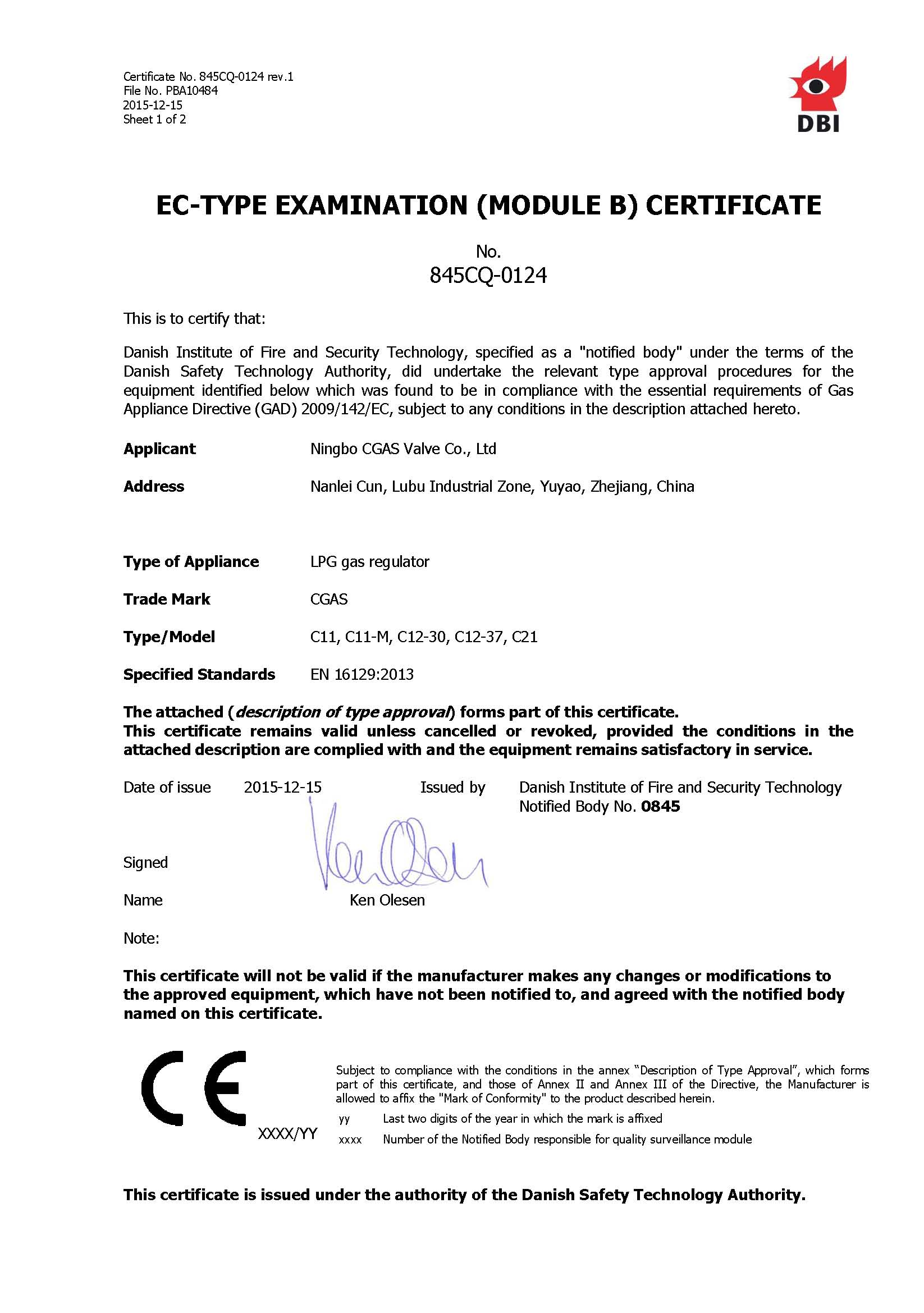 CE certificate for C11,C21 and C12 gas regulator