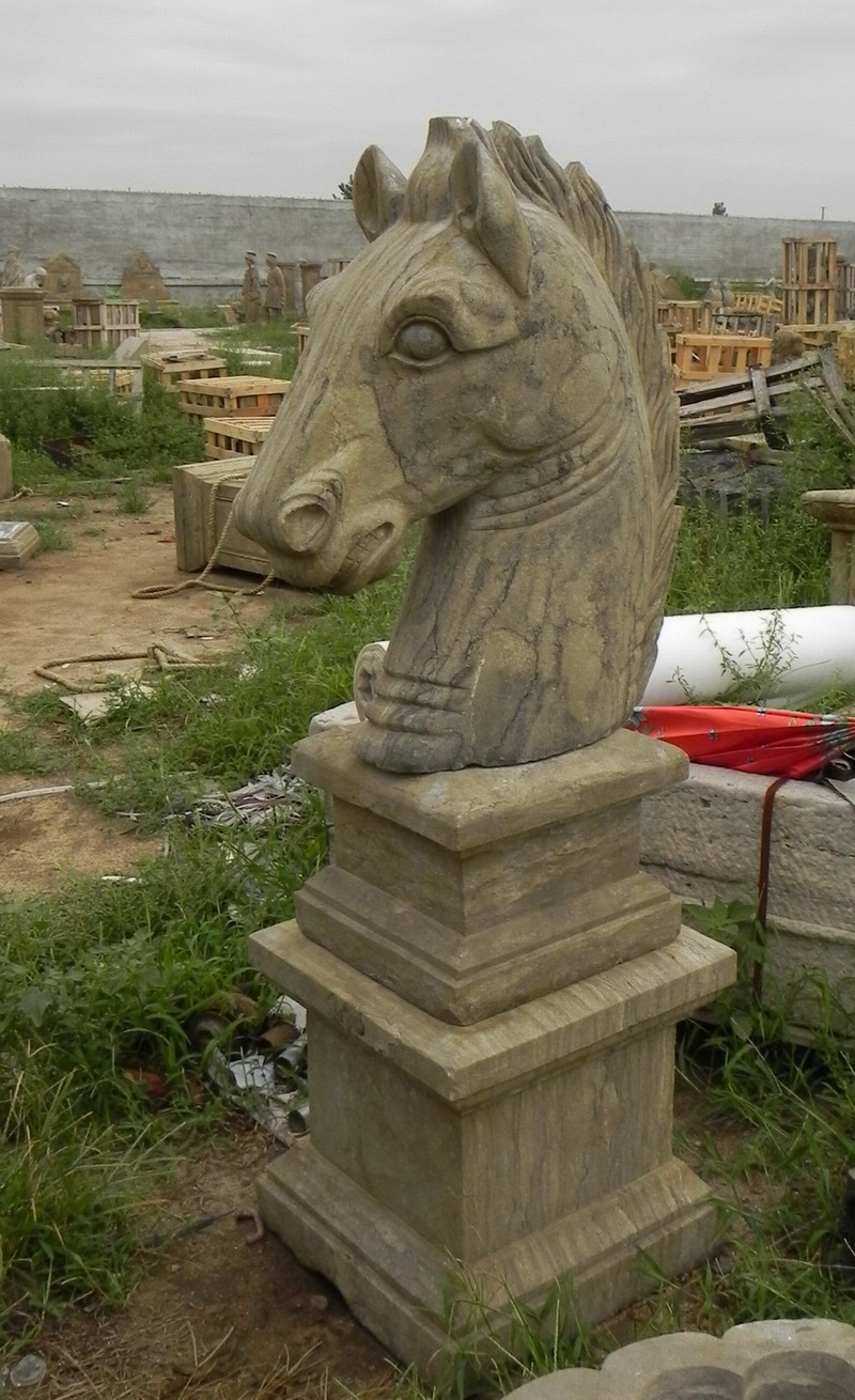 antique stone horse head sculpture carving
