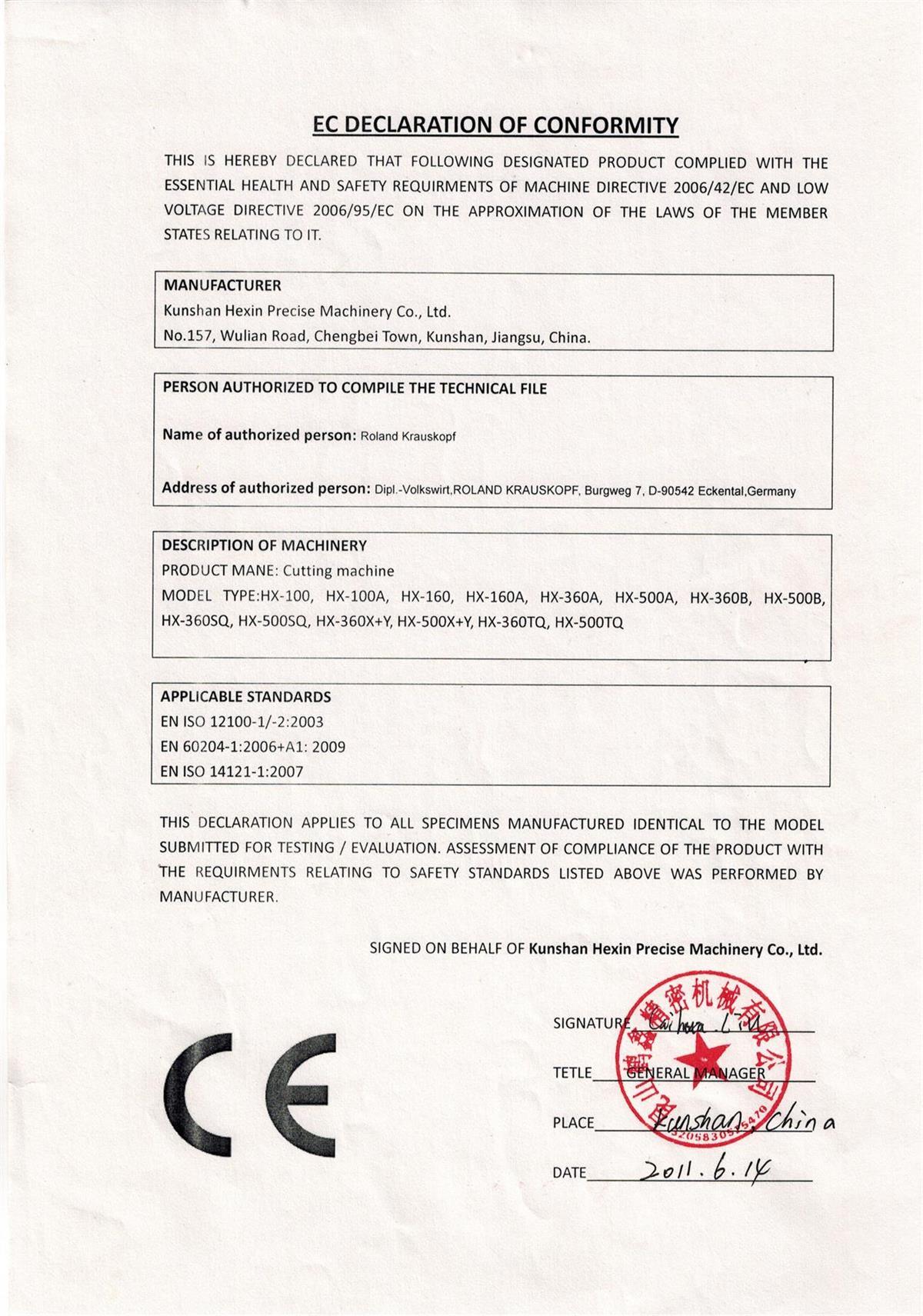 EC Declaration Certificate