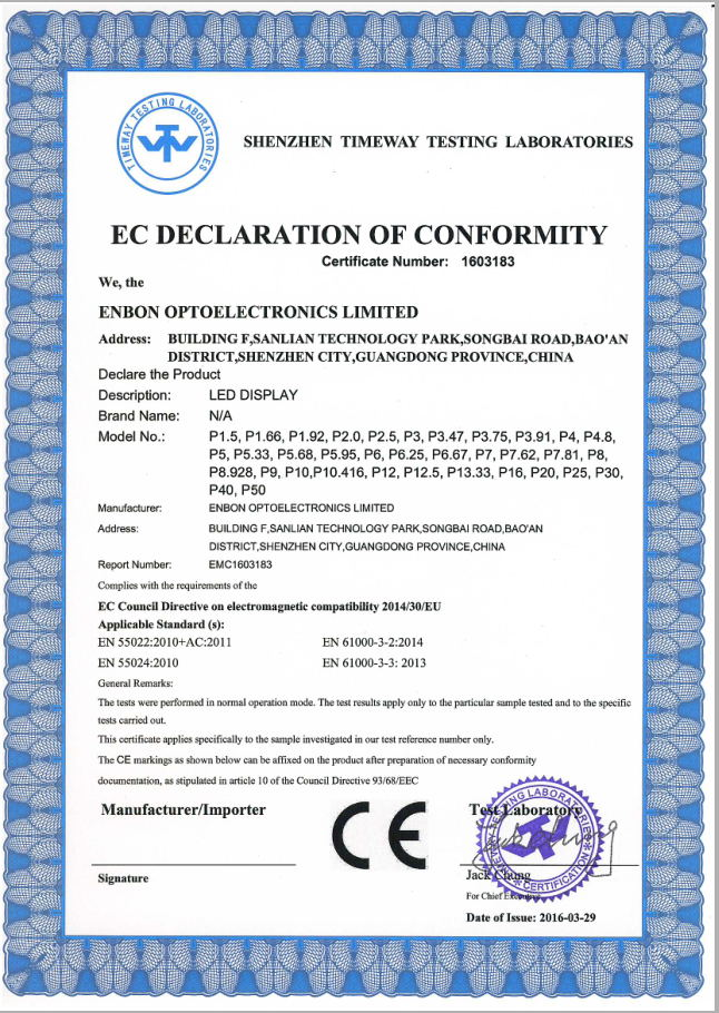 new CE certificate-conformity